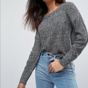 ASOS Ribbed Long Sleeve Knitted Heathered Long Stretch Sweater